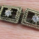 Vintage Antiqued Gold Plate Rhinestone Charms Slide Double Chain Bracelet
