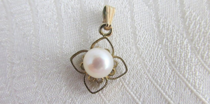 Estate Vintage 12K Gold Filled 6mm Cultured Pearl Solitaire Pendant 0.7 grams
