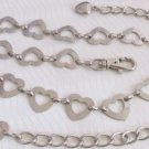 "Womens Cutout Heart Links 28-40"" Long Belt Silver Plated Waist Hip Fashion Bling"