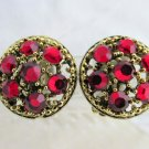 Vintage WEISS Cherry Red Rhinestone Earrings Clip On Goldtone Beautiful Signed