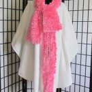 Vintage Off White Soft Fleece Cape Wrap Curly Pink Faux Fur One Size Hand Sewn