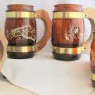 4 Vintage Seista Ware Western Theme Brown Glass Wood Handle Mugs Barware Glasses