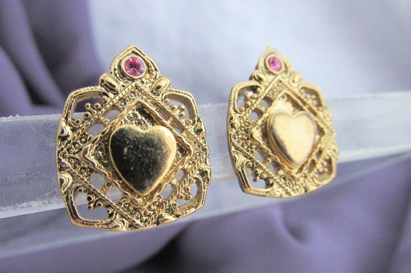 Vintage Ornate Framed Heart Pink Rhinestone Earrings Gold Plate Pierced Post