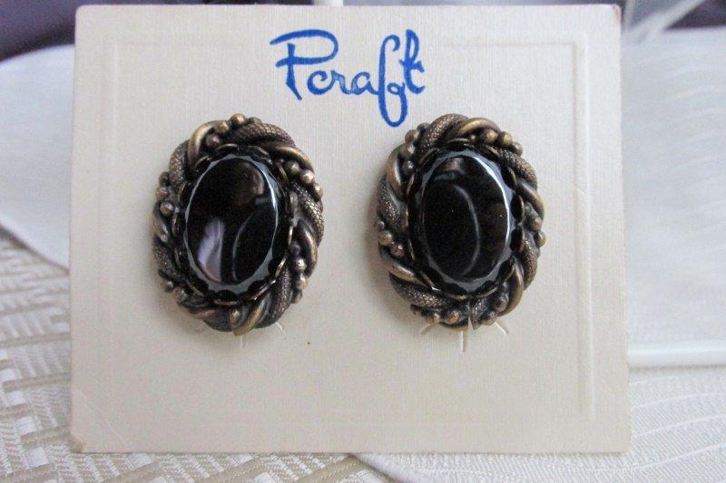 1970s Vintage Pcraft Hematite Oval Earrings Antiqued Gold Plate Rope Bead Twist