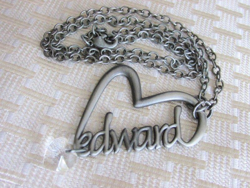 Twilight Saga Edward Heart Pendant Necklace Crystal Charm Pewter Tone