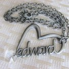 Twilight Saga Edward Heart Pendant Necklace Crystal Charm Pewter Tone