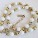 Vintage Napier White Glass & Tan Wood Bead Choker Necklace Gold Plated Chain