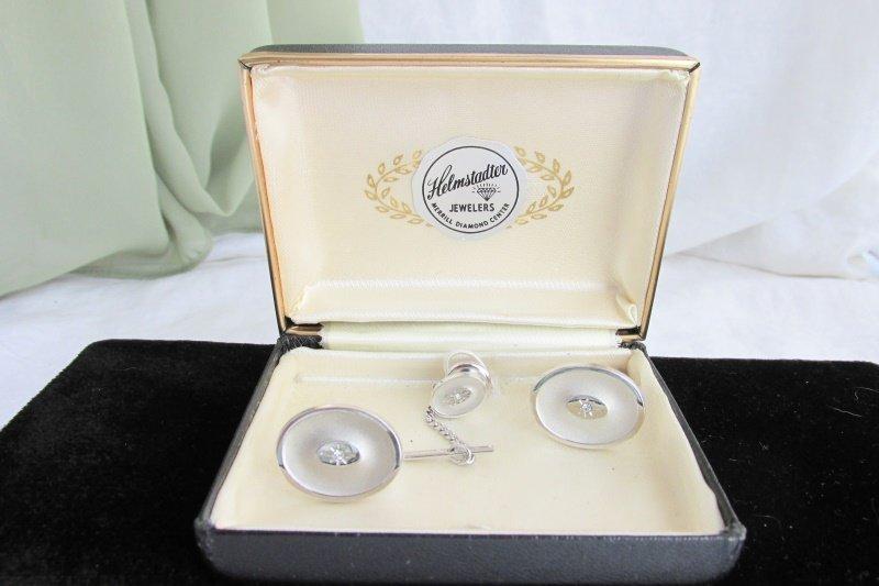 Vintage Anson Imitation Diamond Oval Silver Plated Cufflinks Tac Box Set Estate