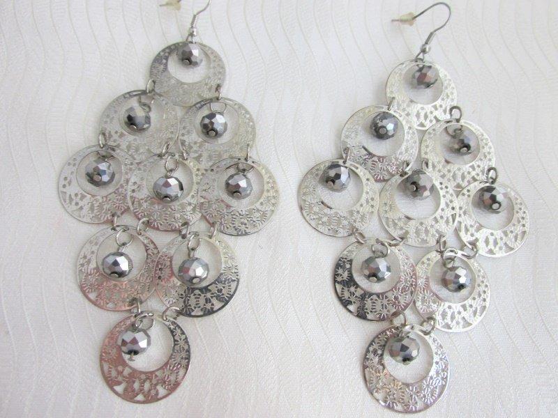 "Exotic Silvertone Filigree Disks Hematite Bead Chandelier 4"" Earrings Gypsy"