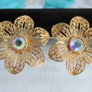 Vintage AVON AB Rhinestone Glistening Petals Flower Earrings Pierced Gold Tone
