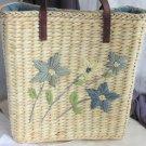 Vintage Style Medium Raffia Straw Hand Bag Tote Tan Blue Flowers Leathery Straps