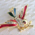 Vintage Red Blue Emerald Enamel Rhinestone Flying Bird Pin Brooch Gold Plate