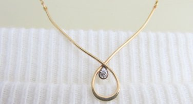 1977 Vintage AVON 14K Gold Filled Tiny Diamond Wishbone Necklace Chain Signed