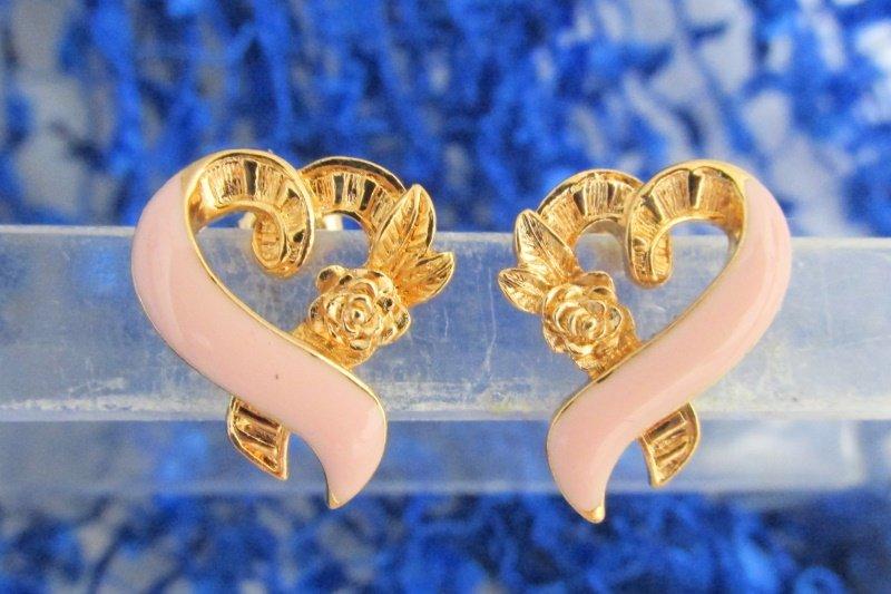 VTG AVON Pink Ribbon Pierced Earrings Gold Plate Surgical Post New Old Stock NIB