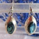Vintage Mexico Paua Shell Dangling Earrings Alpaca Silver Pierced Signed