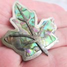 Vintage Mexico Sterling Silver Maple Leaf Pin Brooch Abalone Inlaid Bell Mark