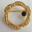 1980s Vintage Avon Garnet Red Rhinestone Faux Marcasite Circle Pin Gold Plated