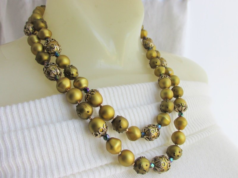 2 Strand Olivine Green Enamel Carnival Bead Necklace Vintage Pebble Satin Finish