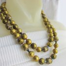 2 Strand Olivine Green Enamel Carnival Bead Necklace Vintage Pebble Satin Finish