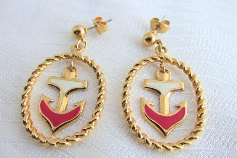 Vintage Avon Nautical Anchor Red White Enamel Dangling Earrings Pierced