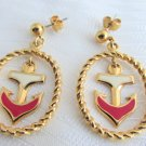 Vintage Avon Nautical Anchor Red White Enamel Dangling Earrings Pierced