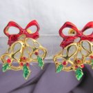 Vintage Christmas Bells Bow Cluster Red Green Enamel Earrings Gold Plate Pierced