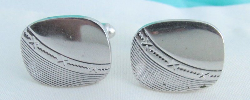 Vintage Etched Design Mens Cufflinks Cuff Links Silver Plate Rectangle Classic