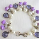 Vintage Faux Pearl Purple Bezel Crystals Art Glass Bead Charm Bracelet Original