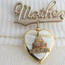 Vintage Mother Pin Dangling Heart Locket Capitol Building Washington DC Souvenir