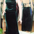 1001 Nights SEXY Emerald Green Velvet 2 Pc Prom Club Evening Gown Size 5/6 New
