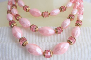 """Vintage 2 Tone Pink Acrylic Bead Bib Choker Necklace 15""""-16"""" Gold Plate Accents"""