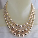 "Vintage Bright Gold Plated Acrylic Bead Bib Choker Necklace 15.5""-16.5"""