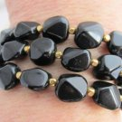 Vtg CROWN TRIFARI Black Nugget Bead 3 Strand Wide Bracelet Gold Plate Spacers