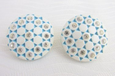 1950s Vintage Turquoise White Crystal Rhinestone Honeycomb Earrings Clips Lucite