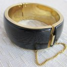 Vintage Black Enamel Wide Hinged Cuff Bracelet Goldtone Safety Chain Bold Statement