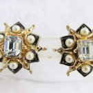 Vintage CORO Earrings Screws Emerald Cut Rhinestone Black Enamel Faux Pearls