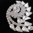 Vintage Large Nautilus Rhinestone Brooch Pin Silver Plate High End Estate