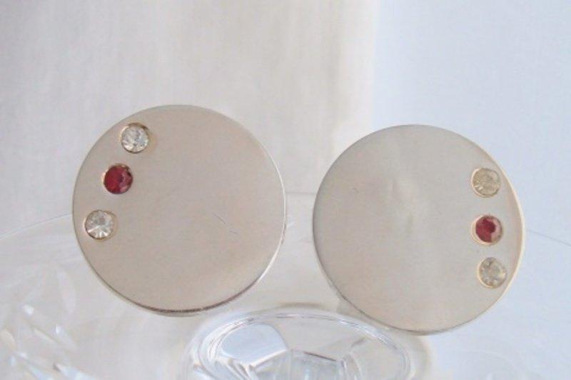 Vintage Elegant Classic Round Mens Cufflinks Unisex Gold Plated Rhinestone