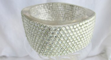Chunky Couture Square Clear Lucite Wide Bangle Bracelet Statement Rhinestone Encrusted