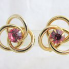 Vintage CORO Pink Rhinestone Love Knot Earrings Screw Back 3 Interlocking Rings