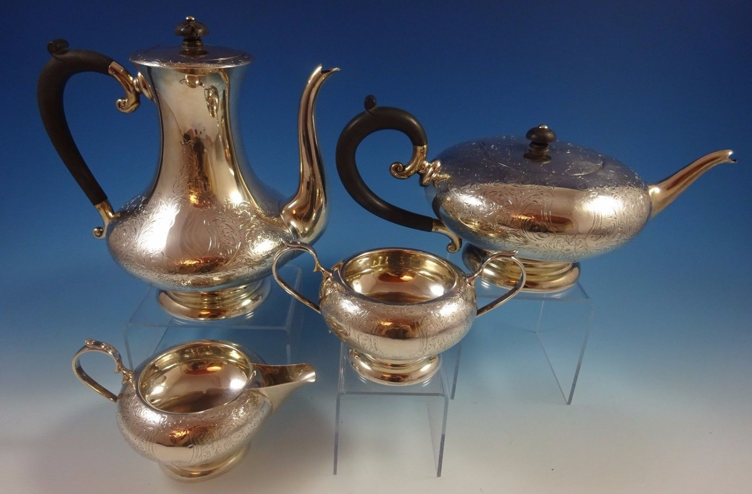 Charles S. Green English Sterling Silver Tea Set 4pc with Engraving (#1285)