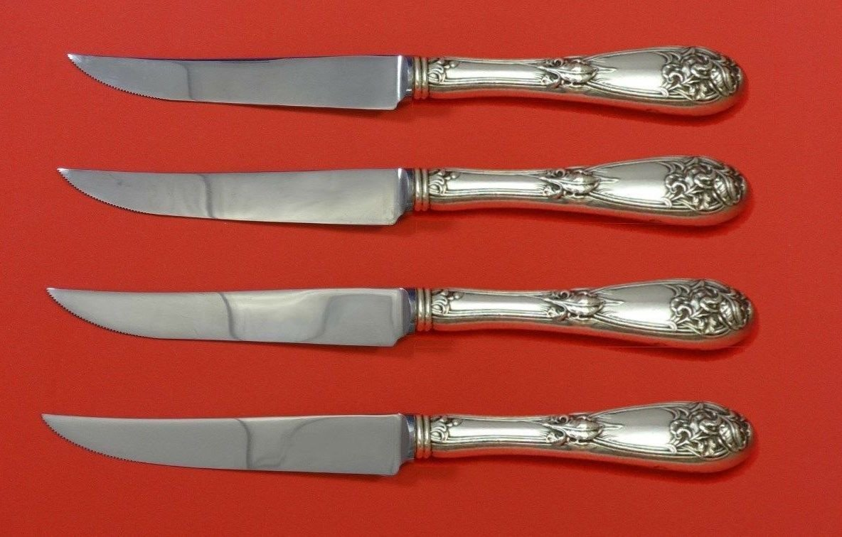 Fleur De Lis by Alvin Sterling Silver Steak Knife Set 4pc HHWS  Custom 8 1/2""