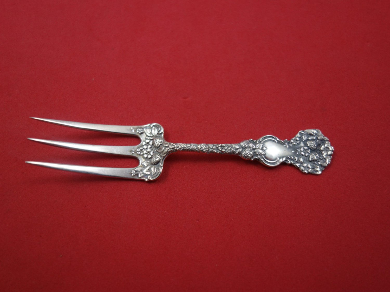 """Strawberry by Durgin Sterling Silver Strawberry Fork Wide Fancy 3 5/8"""""""