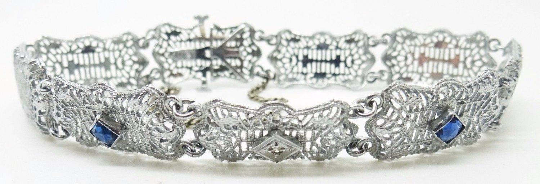 10K Gold Art Deco Diamond Bracelet with Synthetic Blue Sapphires (#3367)