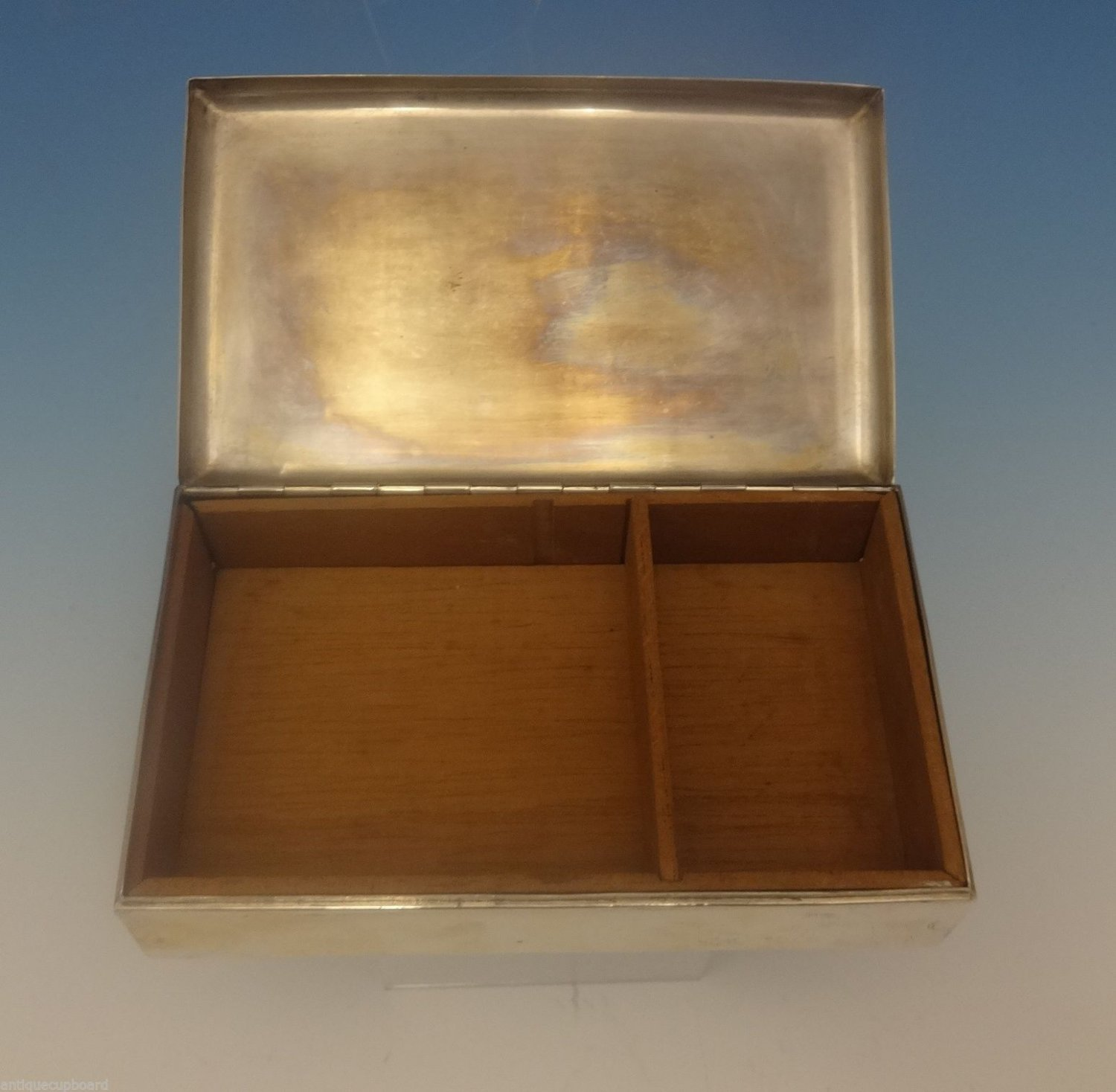 "Cartier Sterling Silver Cigarette Box Wood Lined 6"" X 3 1/2"" (#0329)"