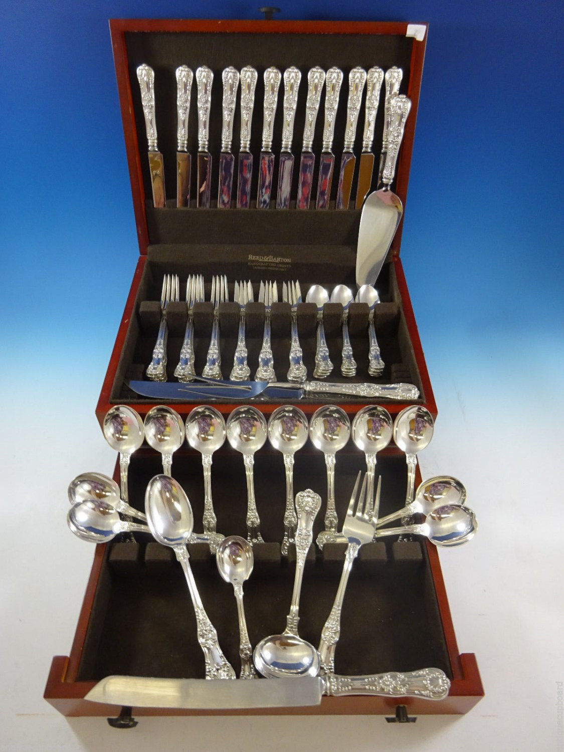English King by Tiffany & Co. Sterling Silver Flatware Set For 12 Service 68 Pcs