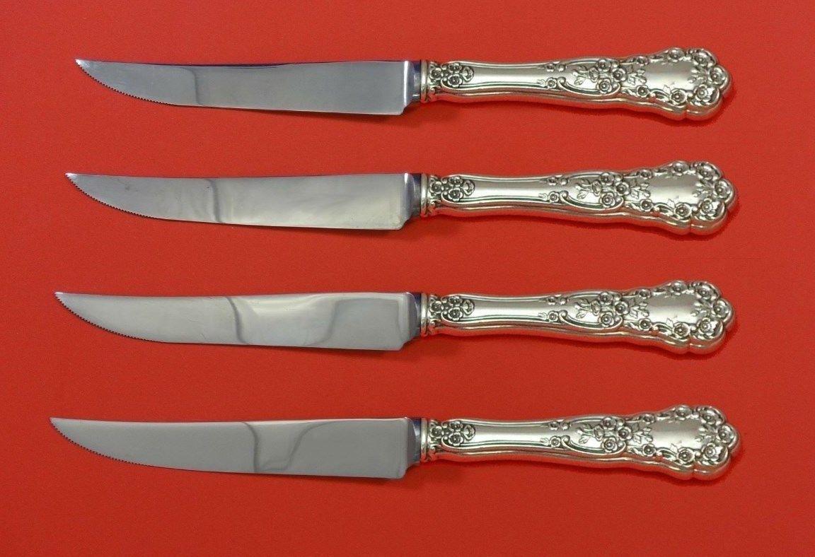 "Buttercup by Gorham Sterling Silver Steak Knife Set 4pc HHWS  Custom 8 1/2"""