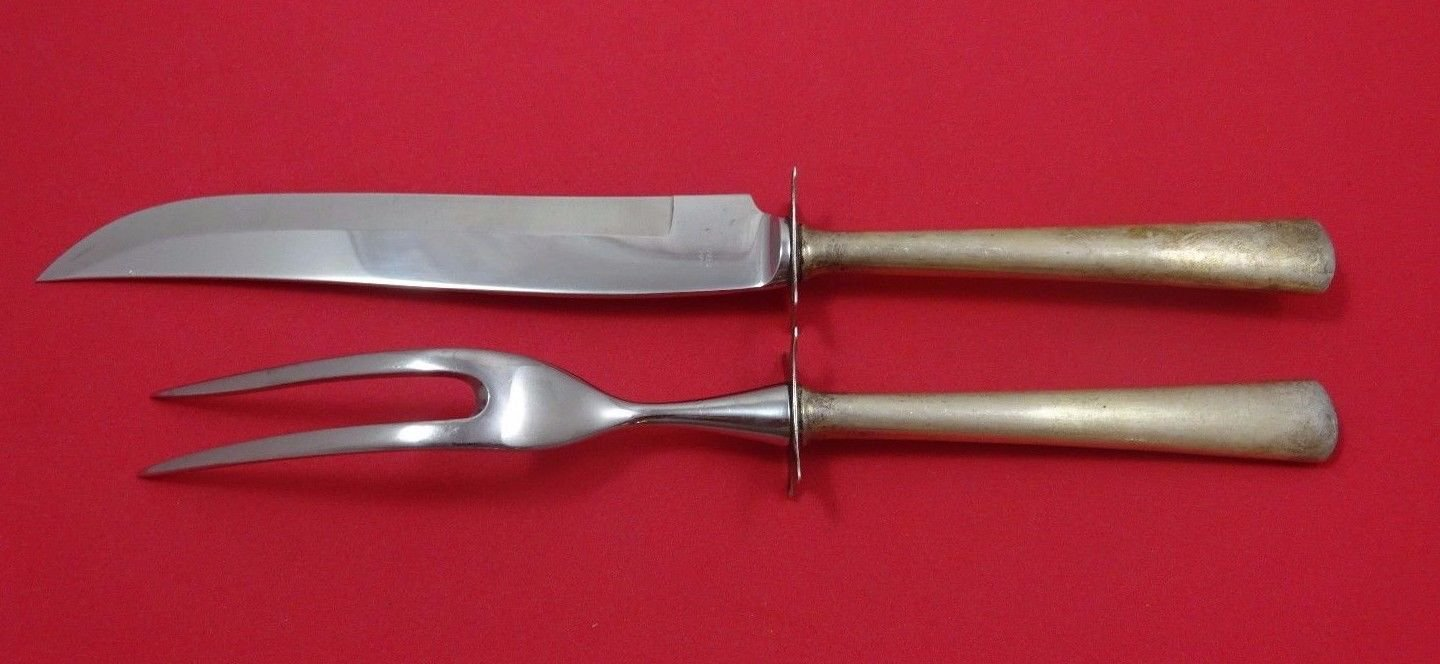 """Royal Satin by Wallace Sterling Silver Steak Carving Set 2pc HHWS  10 1/2"""""""
