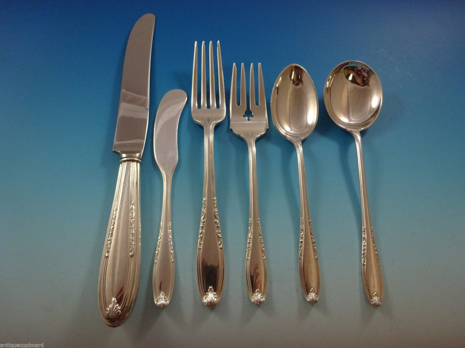 Leonore by Manchester Sterling Silver Flatware Set For 12 Service 90 Pcs