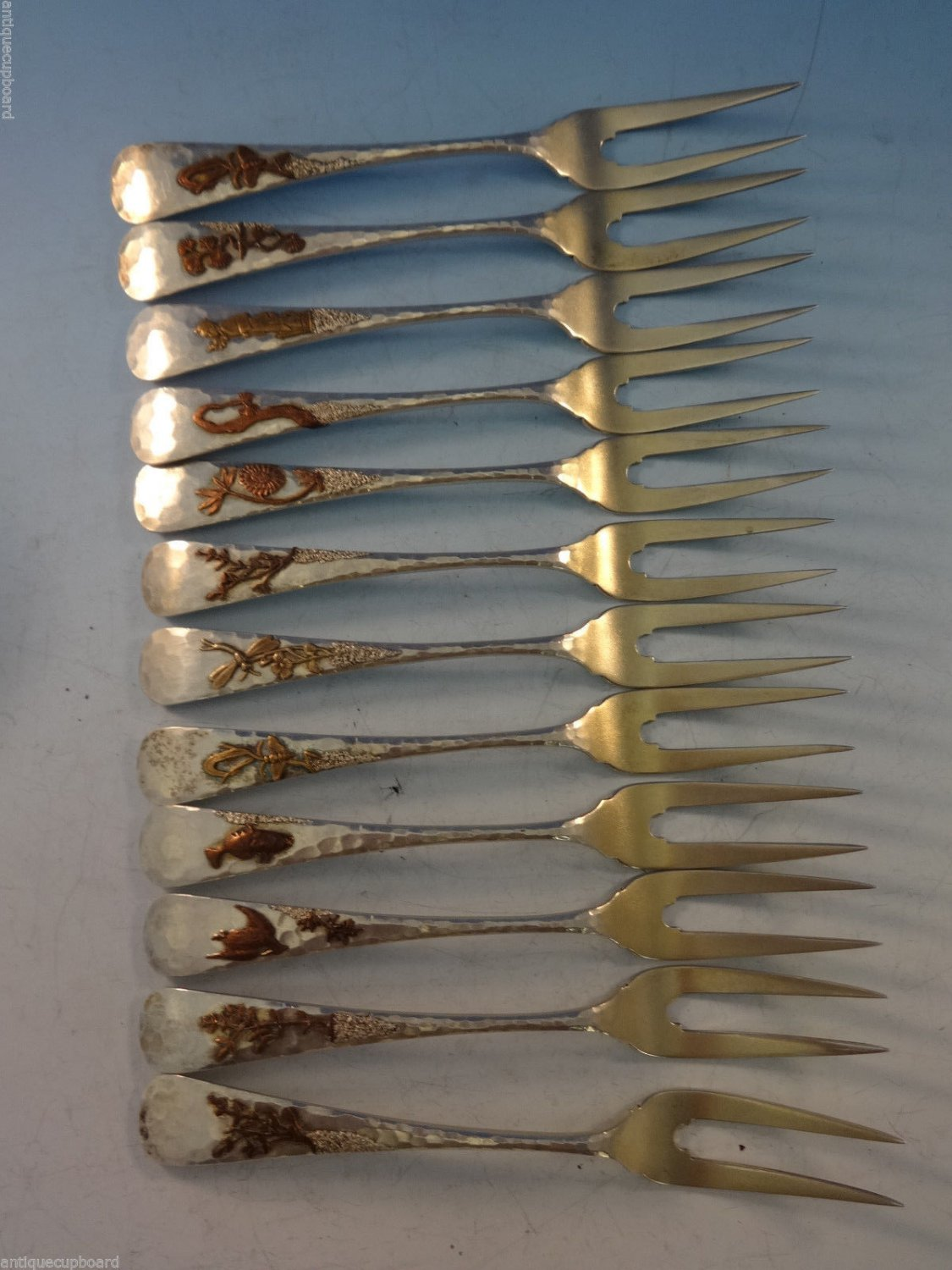 Mixed Metals by Gorham Sterling Silver Set of 12 Lobster Forks 5 7/8""